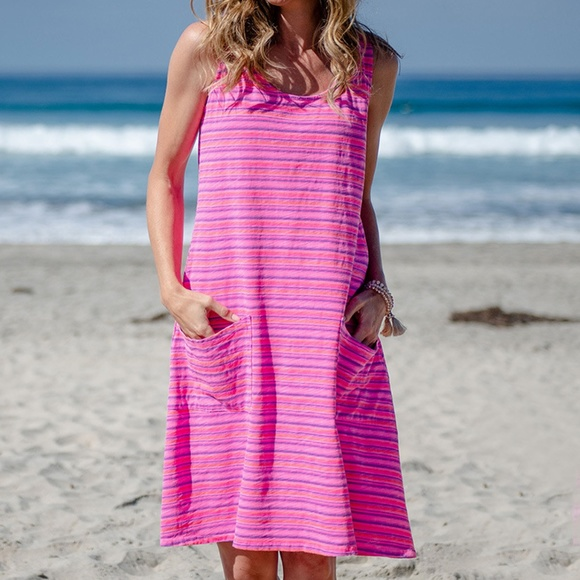 fresh produce Dresses & Skirts - Fresh Produce XL Pink Striped Sleeveless Dress